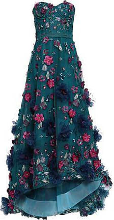 541f3346331 Marchesa Marchesa Notte Woman Strapless Floral-appliquéd Embroidered Tulle  Gown Petrol Size 12