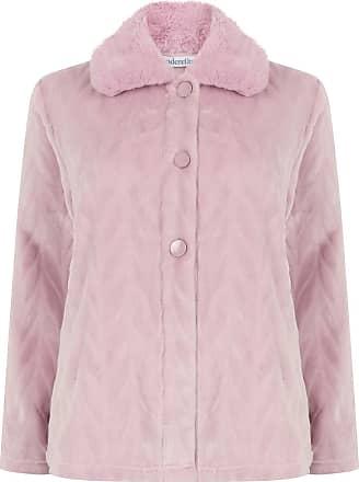 Slenderella Ladies Bed Jacket Faux Fur Collar Soft Fleece Button Front House Coat Medium (Pink)