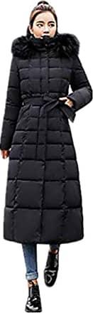 JERFER Womens Casual Fashion Winter Warm JERFER Hooded Coat Long Cotton Padded Jackets Pocket JERFER Coats JERFER (XXXL, Black)