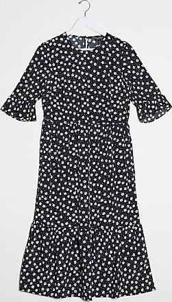 Miss Selfridge smock midi dress in monochrome floral-Black