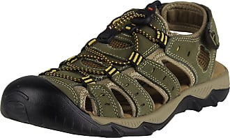 iLoveSIA Mens Athletic and Outdoor Closed-Toe Leather Sandals Khaki UK 9.5 (Lable 45)