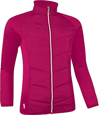 Glenmuir Ladies LW2623ZT Zip Front Pinstripe Quilted Performance Golf Jacket (Magenta/Silver, M - 36-38 inch Chest)