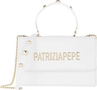 Patrizia Pepe Mini Shoulder Bag Piping Metallic Logo Bianco Umhängetasche weiß