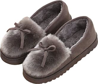 TOMWELL Women Flat Shoes Loafer Moccasins Lace-Up Casual Boat Shoes Slip On Slipper Fashion Plush Warm Winter Grey 3.5 UK