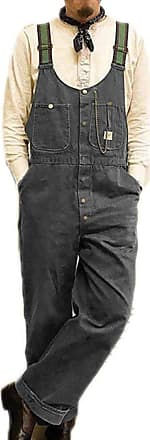 Hellomiko Mens Dad Pants Vintage Bib Overalls Dungarees Jumpsuits Baggy Trousers Gray