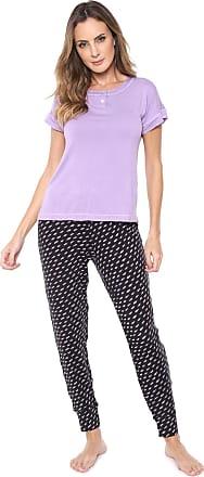 Hope Pijama Hope Estampado Lilás/Preto