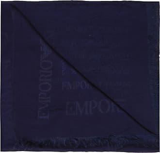 Emporio Armani Scarf With Logo Mens Navy Blue