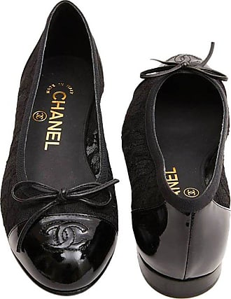 c1aff1a5851 Chanel Ballerinas In Lace And Black Patent Leather Size 34fr
