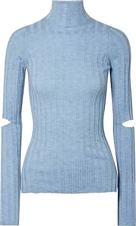Helmut Lang Cutout Ribbed Wool Turtleneck Sweater - Light blue
