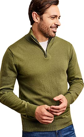 WoolOvers Mens Cashmere Merino Long Sleeve Premium Fine Knit Zip Neck Pullover Knitted Sweater Jumper Sweet Pea, M
