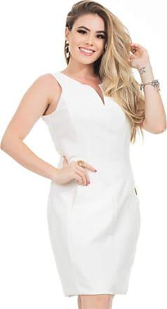 Clara Arruda Vestido Clara Arruda Tubinho Decote V 50563-38 - Off White