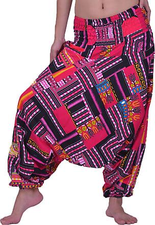 Lofbaz Womens Smocked Waist Floral Pattern 2 in 1 Patch Harem Pants Jumpsuit - Dashiki Pink - OS