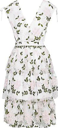 W118 by Walter Baker W118 By Walter Baker Woman Wrap-effect Tiered Embroidered Tulle Dress White Size 10