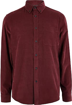 White Label M&S Pure Cotton Fine Needlecord Corduroy Mens Smart Casual Shirt Burgundy Size 3XL