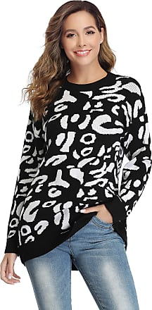 Aibrou Women Round Neckline Sweater, Irregular Graphic Print Soft Stretchy Knitwear Long Sleeve Pullover Jumper Black