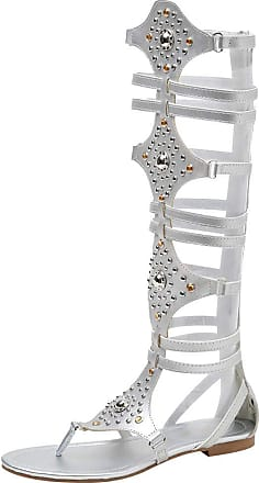 Jamron Womens Knee High Roman Gladiator Sandals Rivets Studded Strappy Flat Zipper Thong Sandals Silver SN020342 UK4.5
