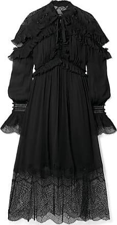 Jonathan Simkhai Ruffled Lace-paneled Silk-crepon Midi Dress - Black