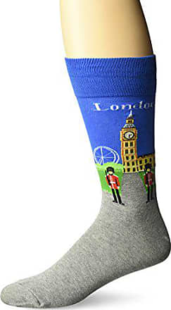 Hot Sox Mens Classic Fashion Crew Socks, London (Blue), Shoe Size: 6-12