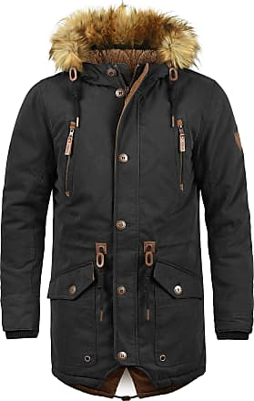 Solid Vidage Mens Parka Outdoor Jacket Winter Coat with Teddy Fleece and Fur Hood with Hood, Size:L, Colour:Black (9000)