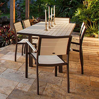 POLYWOOD Outdoor POLYWOOD Euro Dining Set with Aluminum Frame - Seats 6 Mahogany Brown, Patio Furniture - PWS117-1-11MA