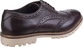 Base London Mens Raid Smooth Leather Smart Casual Brogue Derby Shoes