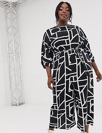 Asos Curve ASOS DESIGN Curve Tie Waist Jumpsuit in mono geo print-Multi