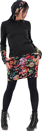3Elfen Woman Jumper Dress Hooded Winter Fashion Clothing Sweater Hoodie Thumbhole top Ladies Black Mystic Rose XL