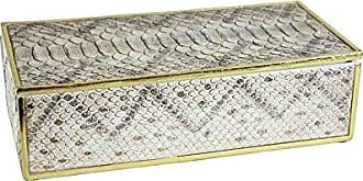 Sagebrook Home POLYRESIN BOA Skin Box, TAN, 8x6.75x14.6, Ivory/Beige