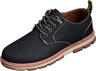 Daytwork Shoes Men Sneakers - Man Lace up Loafers Flat Round Toe Lightweight Comfy Retro Classic Casual Work Driving Shoes Black