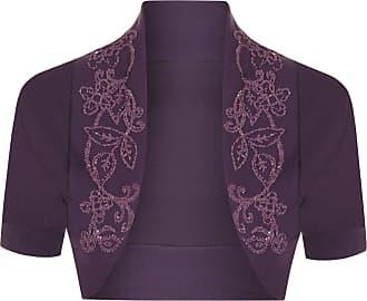 The Celebrity Fashion Womens Cotton Sequin Beaded Cap Short Sleeve Shrug Bolero Cardigan Top Size 8-26 Purple