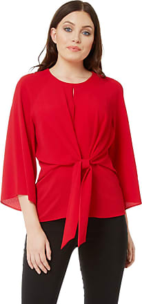 Roman Originals Women Tie Front Top - Ladies 3/4 Length Sleeve Round Neckline Casual Daytime Evening Work Office Interview Business Occasion Blouse - Red - Size 10