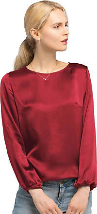 LilySilk Womens 22MM Relaxed Fit Round Neck Silk Blouse T Shirt Top for Ladies (Red, S)
