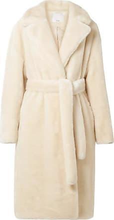 Tibi Luxe Oversized Faux Fur Coat - Cream