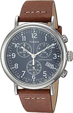 Timex 41 mm Standard Chronograph Leather Strap (Silver/Blue/Brown) Watches