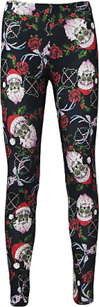 Insanity Mexican Sugar Skull Santa Reindeer Rose Holly and Candy Canes Printed Leggings (SM)