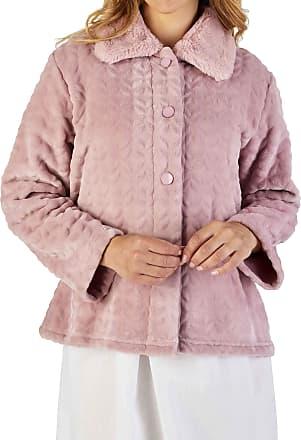 Slenderella Ladies 24/61cm Light Pink 300GSM Soft Thick Velvet Fleece Faux Fur Collared Button Up Bed Jacket XXL UK 24/26