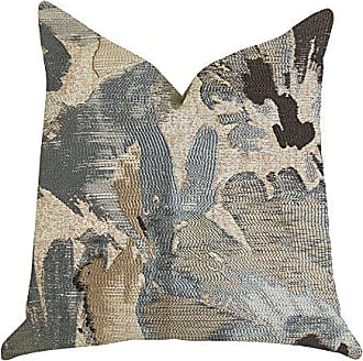Plutus Brands ICY Blue Wildflower Double Sided Luxury Throw Pillow 24 x 24 Beige