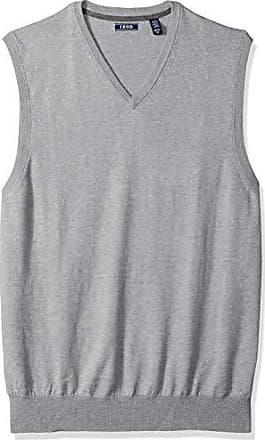 Izod Mens Big and Tall Premium Essentials Solid V-Neck 12 Gauge Sweater Vest, New Light Grey, 2X-Large
