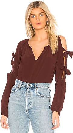 Chaser Silk Slit Tie Sleeve Blouse in Wine