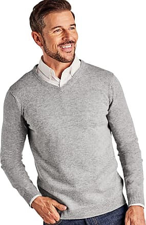 WoolOvers Mens Cashmere and Merino V Neck Jumper Grey Marl, XXL
