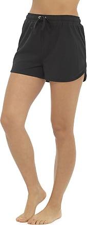 Tom Franks Womens Ladies Solid Colour Elasticated Cotton Blend Summer Beach Shortie Shorts - Black - 20-22