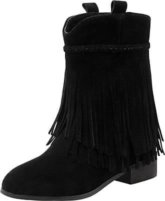 RAZAMAZA Women Classic Faux Suede Fringe Autumn Trendy Boots (40 EU, Black)