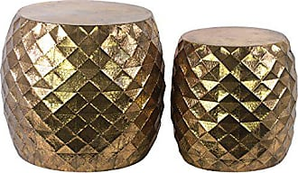 Urban Trends Collection Urban Trends Metal Round Table with Embossed Lattice (Set of 2), Gold