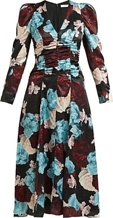 Erdem Annalee Floral-print Satin Dress - Womens - Blue Multi