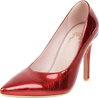 Mediffen Women Stiletto Heels Evening Dress Pointed Toe Pumps Ladies High Heels Fashion Evening Pumps Elegant Prom Bridal Shoes Red Size 42 Asian
