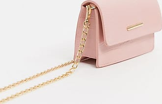 Glamorous boxy crossbody bag in blush mock croc-Pink