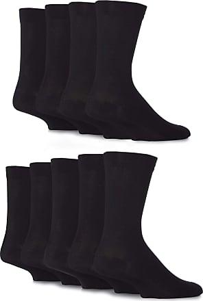 SockShop SockShop Mens Comfort Cuff Plain and Patterned Bamboo Socks with Smooth Toe Seams Pack of 9 Black 7-11