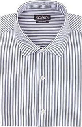 Kenneth Cole Mens Regular Fit Pure Cotton Long Sleeve Shirt Steel Blue Stripe 17 (32/33 Sleeve)