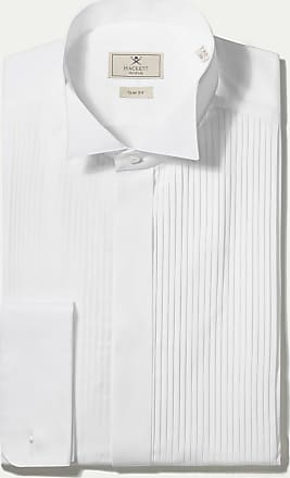 Hackett Mens Wing Tip Pleat Front Shirt   Size 165   White
