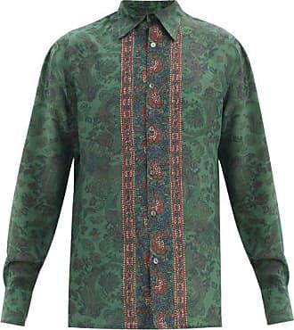 73 London Paisley-print Silk-georgette Shirt - Mens - Green Multi